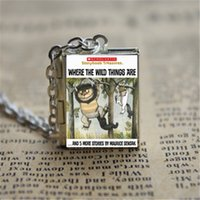 Wholesale locket necklaces online - 12pcs Where The Wild Things Are Book Locket Necklace SILVER tone