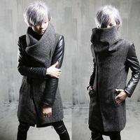 Wholesale Mens Peacoats - Wholesale- 2017 Winter Brand Fashion Harajuku Warm Mens Gray Coat Jacket Leather Sleeve Gothic Clothing Warm Long Peacoats Men Wool Coat