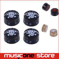 Wholesale Electric Guitar Parts Knobs - 4pcs Electric Guitar Speed Control Knob Skull for LP Guitar Black Guitar knob Guitar Parts