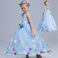 Wholesale puff bow dress online - Princess Flower girls dresses for weddings Girls Lace Appliques Wedding Prom Ball Dress Gowns Birthday Toddler Kids TuTu Dress KD02