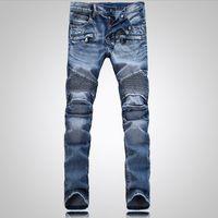 Wholesale Mens Denim Shorts 36 - Men's Distressed Ripped Skinny Jeans Fashion Designer Mens Shorts Jeans Slim Motorcycle Moto Biker Causal Mens Denim Pants Hip Hop Men Jeans