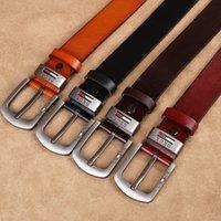 "Wholesale Wide Width Belts - Men's Belt Genuine Leather Belt with Vintage Pin Buckle for Jeans   Dresses   Pants 1.5 ""Width (3.8 CM) Color: black, coffee, brown, camel"