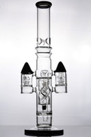 18 mm cam eklem toptan satış-16 inç siyah katı baz 18 mm eklem yarıklar roket perk tüp su kanalına Cam Bongs hookahs