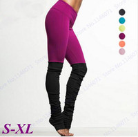 Wholesale womens tight yoga pants resale online - Womens Yoga Pants Candy Color Compression Running Tights High Waist Fitness Leggings Black Patchwork Dancing Skinny Trousers New