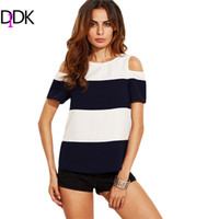 Wholesale Womens Open Shoulder Tops - Wholesale- DIDK Sexy Summer Clothes Womens T shirt Tops Ladies Black and White Color Block Open Shoulder Short Sleeve T-shirt