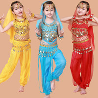 Wholesale Bollywood Kids - Handmade Children Belly Dance Costumes Girls Bollywood Indian Performance Kids Belly Dancing Bellydance Cloth Whole Set 7pcs