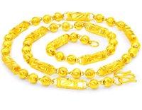 altın plaka zinciri toptan satış-24 inç 24 K Altın Kaplama Buda Boncuk Zincir Kolye Mens Yüksekliği İmitasyon Altın Altıgen Boyun Zinciri takı