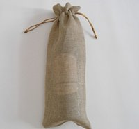 Wholesale jute gift bags wholesale - 300pcs Jute Wine Bottle Bags 16cmX36cm Champagne Covers Linen Drawstring Christmas Wedding Party Gift Pouches Packaging