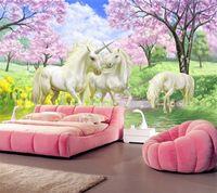 murais de parede de fundo venda por atacado-Personalizado 3d papel de parede mural unicorn sonho cherry blossom tv fundo parede pictures para crianças quarto quarto sala de estar papel de parede