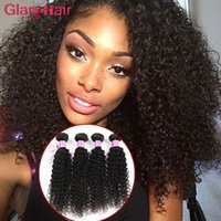 Wholesale curly hair weave styles resale online - New Fashion Style Glary Hair Products Peruvian Human Hair Weave Bundles Kinky Curly Weaves Soft Cheap Mink Brazilian Hair Extensions