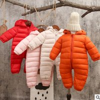 Wholesale Warm Infant One Piece Clothing - Chirstmas clothing INS baby boy girls candy color hooded one-piece autumn winter kids warm jumpsuits Infant long sleeve zipper romper T0294