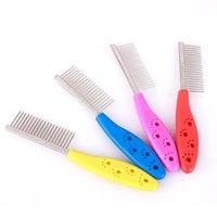 Wholesale Grooming Shedding - Pet Cat Dog Trimmer Grooming Comb Stainless Steel Dog Shedding Flea Rake Combs Pet Products 20pcs lot free shipping