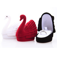 Novelty Jewelry Box Cygnet Swan Velvet Ring Earring Necklace Jóias Display Gift Box Case-Display Box Jóias Embalagem