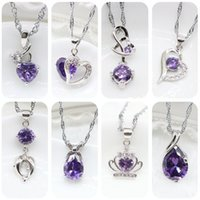 Wholesale Silver Crown Pendant Rhinestones - New Women Wedding 925 Sterling Silver Necklace Purple Austrian Crystal Crown Heart Pendant Necklace Hot 2017