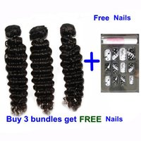 Wholesale Wholesale Process Hair - 7A Brazilian Cambodian Chinese Virgin Human Hiar Weave Wavy Deep Wave Hair EXtensions Bundle Dyeable Natural Color 3pcs with free nails