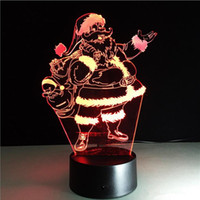 Wholesale santa led decoration - Creative Christmas Decoration Light Gifts 3D Illusion Lamp Santa Claus Touch Table Lamp 7 Color Changing USB LED Night Light Atmosphere Lamp