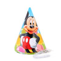 Wholesale Hats Headbands For Kids - Wholesale-6PCS Mickey Theme paper hats party Decoration Baby Happy Birthday evening Party Supplies Wedding for kid