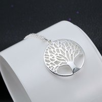 Wholesale Brides Necklace Charms - Wholesale-Silver Shiny Life Tree Elegent Pendant Necklace Best Gifts For Women Jewelry Fashion Bride Necklaces Party Friend Family Charm