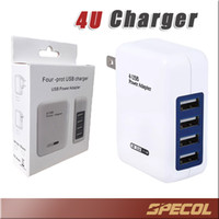 Wholesale Android Dock Adapter - 3.1A 15W High Speed 4 Port USB Wall Charger Portable Travel Charger Samsung S8 Power Adapter for iPhone 7 6s iPad Android
