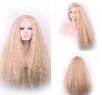Wholesale Cosplay Lolita Wigs White - New 80CM Corn Wigs Ombre Lolita Light Blonde Mixed White Color Long Curly Wigs Women Skin Top Cosplay Wig Hair