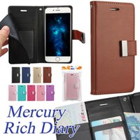 Wholesale Phone Bags Wallet - For iPhone X iPhone 8 MERCURY Coospery Wallet Case for Samsung Note 8 Rich Diary PU Leather Phone Case Card Slot Kickstand Case in OPP Bag