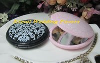 ingrosso elegante specchio bianco nero-(100 pezzi / lottp) souvenir di nozze di elegante in bianco e nero specchio damascato compatto borsa favori per bomboniere