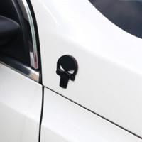emblèmes auto crâne achat en gros de-L'insigne de corps de Punisher 3D Skull Sticker Metal Auto Emblem