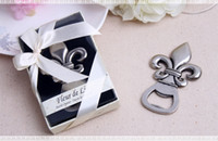 Wholesale Wedding Pewter - Free shipping New Arrival stainless steel Fleur de Lis Pewter-Finish Bottle Opener Wedding Party Favors wen4507