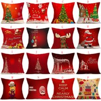 Wholesale Yarn Santa - 16 Styles Pillow Case Christmas Pillow Cases Cushion Cover Christmas tree Reindeer Santa candy ball Pillow Case Square Xmas Pillow covers