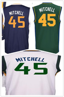 Wholesale Basketball Pick - 2017 Draft Picks #45 Donovan Mitchell Basketball Jerseys Cheap Mens Blue White Printed Donovan Mitchell Jersey Sports Shirt High Quality