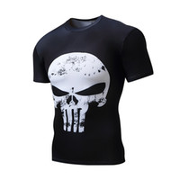 Wholesale Black Short Sleeved Shirts - 2017 spring new men's short-sleeved T-shirt skulls outdoor sports Lycra quick-drying tights
