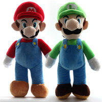 Wholesale Mario Bros Stuffed Toys Wholesale - HOT 10'' Free Shipping Super Mario Bros Stand MARIO & LUIGI Plush Doll Stuffed Toy And Retail For Kid Best Gift JC104