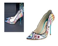 Wholesale Womens Peacock Print Dresses - 2017 Spring and Summer New Color Womens Single Shoes Pointed Shallow Mouth Peacock Printing Shoes High Heels