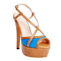 ingrosso sandali in cotone marrone-Kolnoo Womens Fashion Handmade 14,5 centimetri Slingback Crisscross fibbia cinturino tacco alto sandali scarpe marrone XD097