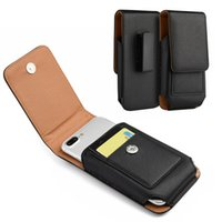 Wholesale universal cell phone belt clip - Universal PU Leather Holster Case Cover Pouch Vertical Wallet with Belt Clip for iPhone X Cell Phone Smartphone Up to 5.5 Inch