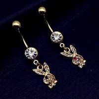 Wholesale Earring Green Rabbit - New Fashion Sweet Cute gold plated Rabbit Navel Ring Body Pircing Women Earring In Navel Piercing Navel Surgical Steel Helix Piercing