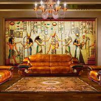 Wholesale Fabric Photo Paper - Wholesale- Ancient Egyptian Pharaoh Photo Wallpaper Retro Art Mural Wallpaper Hoom Decor Non-Woven paper Wall Mural