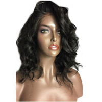 Wholesale brazilian curly wave short hairstyles online - 12inch curly wavy full lace human hair wigs short wigs human hair bob hairstyle for black women Side part