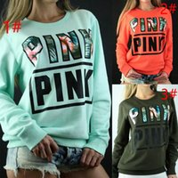 Wholesale Polyester Tracksuits Wholesale - Vs Pink Hoodies Harajuku Women Fitness Kawaii Sweatshirts Pink Letter Pullover Long Sleeve Outwear Tracksuit Casual Tops 10pcs AP06