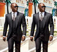 Wholesale mens formal ties resale online - Nigeran black Three pieces pant jacket tie vest suit formal tuxedos for men mens prom suits groomsmen suits for wedding bridegroom