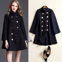 Wholesale woolen winter coat womens - Autumn Winter Wool Coat Jacket Womens 2018 New Fashion Europe Slim Double Breasted Coat Thick Woolen Jackets Cloak Wollen Coats