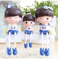 Wholesale China Love Dolls - 3 pcs  set Creative Home Office Car Decoration new peculiar gifts family three LOVE hanging stove doll resin home Decor