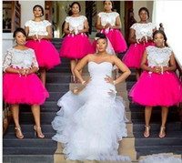 mini vestido de praia rosa venda por atacado-Blush Rosa Praia Do Laço Curto 2019 Nova Chegada Da Dama de Honra Vestidos de Jóia Ilusão Apliques 1/2 manga vestido de Baile Em Camadas Saia vestido para o casamento
