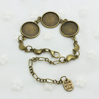 Wholesale Bronze Toggle - Sweet Bell Min order 5pcs Vintage moon Round Cabochon Settings16mm Antique Bronze Jewelry Blank Fit Diy Jewelry Making Bracelet made D0552