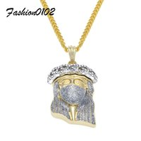 Wholesale Crystal Mask Necklace - Silver Masked Jesus head Pendant Fashion Punk Jewelry Iced Out Bling Rhinestone Gold Plated Hip Hop Pendant Necklace Cuban Chain