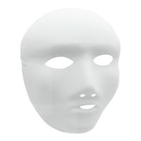 Wholesale Masquerade Masks Decorations - DIY White Blank Mask Halloween Masquerade Party Hand Painting Decoration Full Face Masks for Female 12pcs   lot 1ZJ0001-female-w