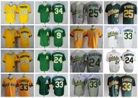 Wholesale Men S Athletic - Throwback Oakland Athletics Baseball Jerseys 33 Jose Canseco 9 Reggie Jackson 24 Rickey Henderson 34 Rollie Fingers 25 Mark McGwire Jerseys