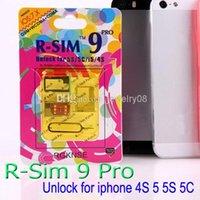 Wholesale Iphone Ios Verizon - original R-SIM 9 RSIM 9 Unlock ALL iPhone5S 5C 5G 4S RSIM9 pro IOS 7 IOS7 7.0.1 7.0.2 7.1 RSIM 9 PRO Docomo AU Sprint Verizon DHL free