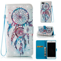 Wholesale Lanyard Pouch For Credit Cards - PU Leather Protective Flip Wallet Case with Credit Card Holder Slots and Wrist Lanyard for iPhone Samsung Galaxy Crystal Pen Aeolian bells