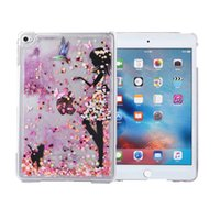 Wholesale Ipad Cover Cute Girls - Wholesale-2016 Dynimic Liquid Glitter Love Heart Cute Girl Butterfly Design Quicksand Crystal Hard PC Cover For Ipad Min4 Bling Case Coque